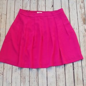 J. Crew Hot Pink Pleated Skirt
